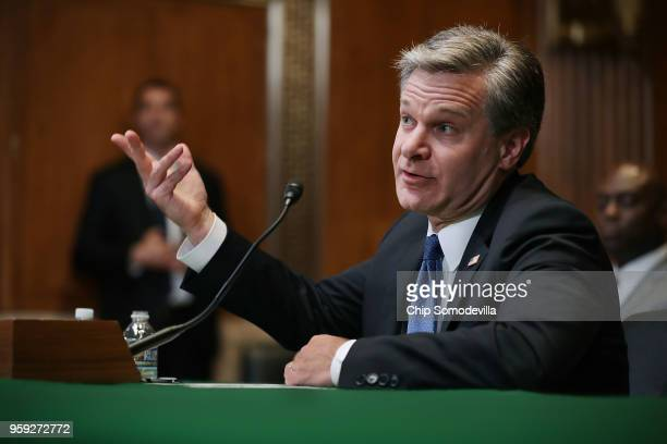 Federal Bureau of Investigation Director Christopher Wray testifies before the Senate Appropriations Committee's Commerce Justice Science and Related...