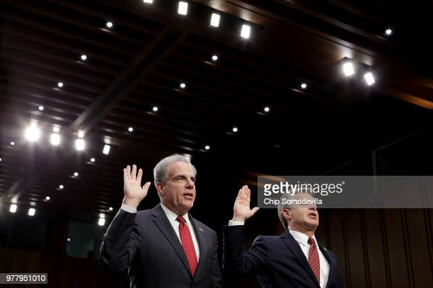 Federal Bureau of Investigation Director Christopher Wray testifies before the Senate Judiciary Committee in the Hart Senate Office Building on...
