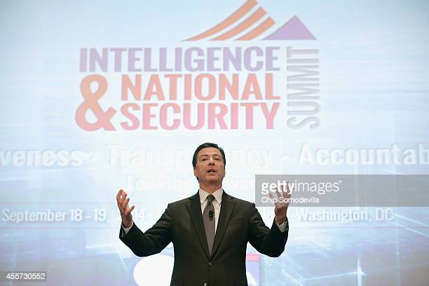 Federal Bureau of Investigation Director James Comey addresses the Intelligence and National Security Summit at the Omni Shoreham Hotel September 19...