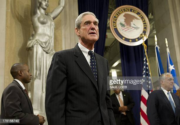 Federal Bureau of Investigation Director Robert Mueller following a farewell ceremony in his honor at the Department of Justice on August 1 2013...
