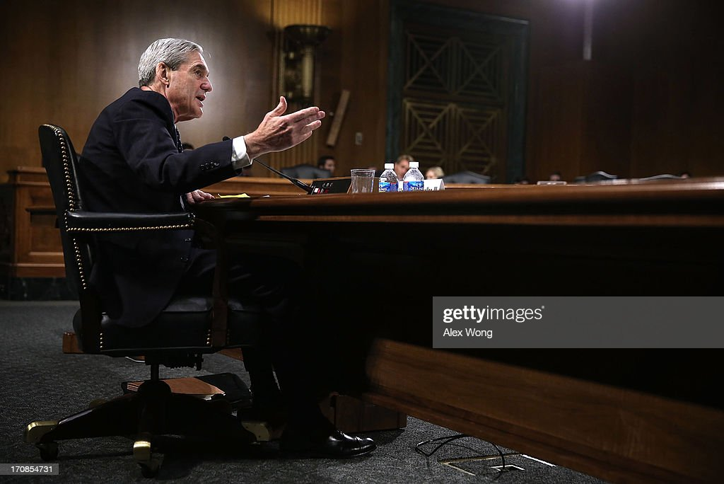 Federal Bureau of Investigation (FBI) Director Robert Mueller testifies during a hearing before the Senate Judiciary Committee June 19, 2013 on Capitol Hill in Washington, DC. Mueller confirmed that the FBI uses drones for domestic surveillance during the hearing on FBI oversight.