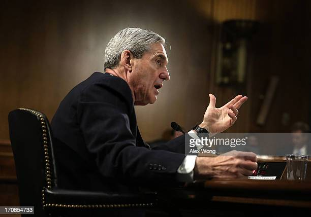 Federal Bureau of Investigation Director Robert Mueller testifies during a hearing before the Senate Judiciary Committee June 19 2013 on Capitol Hill...