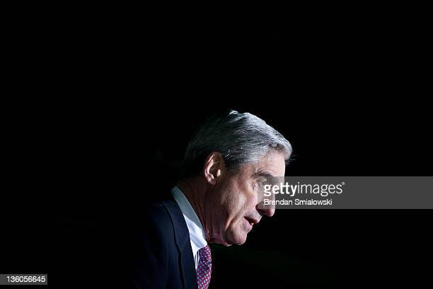 Federal Bureau of Investigation Director Robert S Mueller III speaks during a memorial service for the Pan Am Flight 103 Lockerbie bombing at...