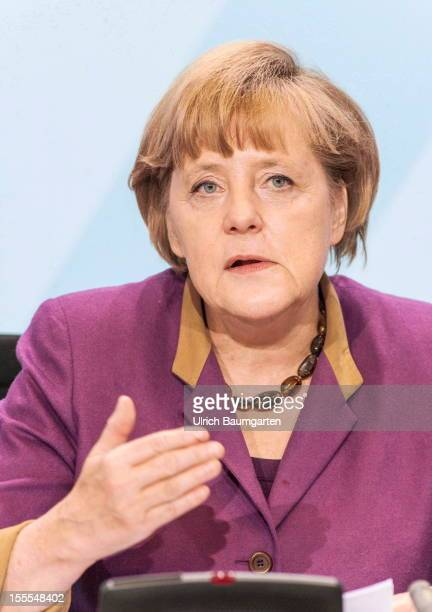Federal Chancellor Angela MerkelL during the press conference in the federal chancellory on October 30 2012 in Berlin Germany