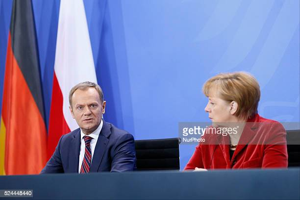 Federal Chancellor Merkel receives him the Polish Prime Minister Donald Tusk in the chancellor's office Federal Chancellor Merkel and Prime Minister...