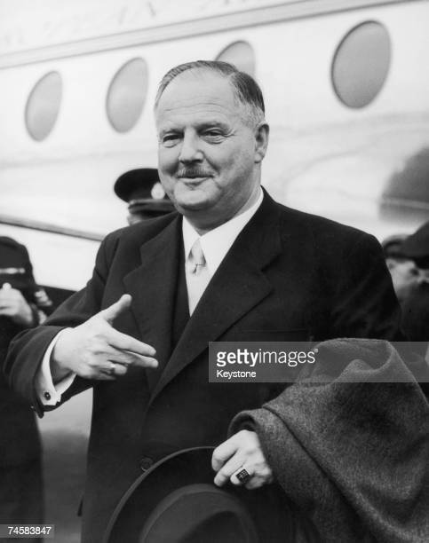 Federal Chancellor of Austria Julius Raab arrives at London Airport at the start of a fourday goodwill visit as a guest of the British Government...