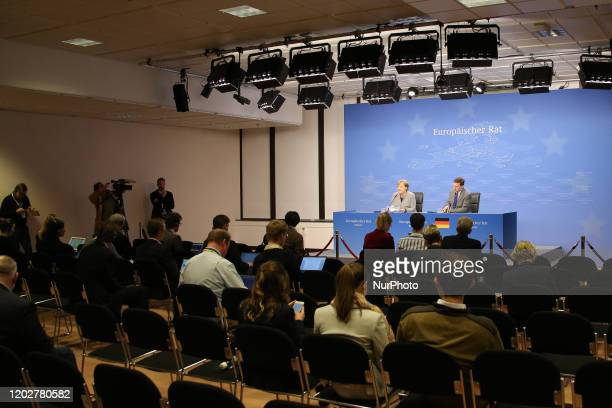 Federal Chancellor of Germany Angela Dorothea Merkel at a Press Conference and media briefing after the second day of the special European Council...