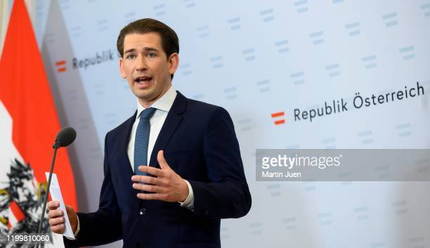 Federal Chancellor Sebastian Kurz after a meeting with the Minister for Justice the Minister for European issues and prosecutors at at Federal...