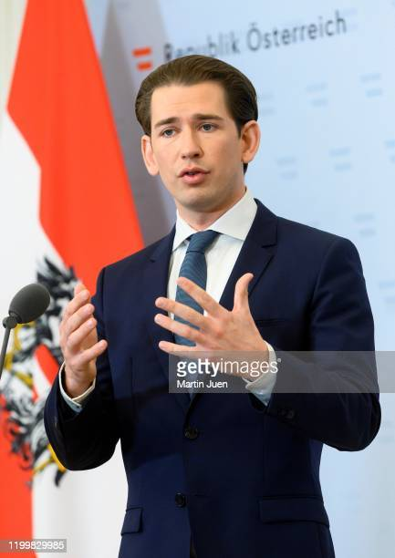 Federal Chancellor Sebastian Kurz after a meeting with the Minister for Justice, the Minister for European issues and prosecutors at at Federal...