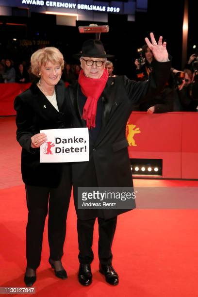 Federal Commissioner for Culture and Media Monika Gruetters and festival director Dieter Kosslick arrive for the closing ceremony of the 69th...