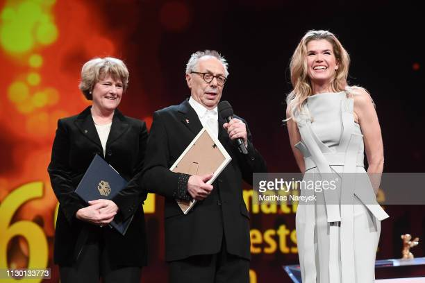 Federal Commissioner for Culture and Media Monika Gruetters festival director Dieter Kosslick and Anke Engelke are seen on stage at the closing...