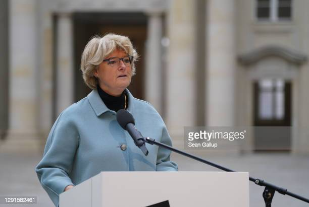 Federal Commissioner for Culture and Media Monika Gruetters speaks in the Schlueterhof courtyard at the digitally streamed, first-phase opening of...