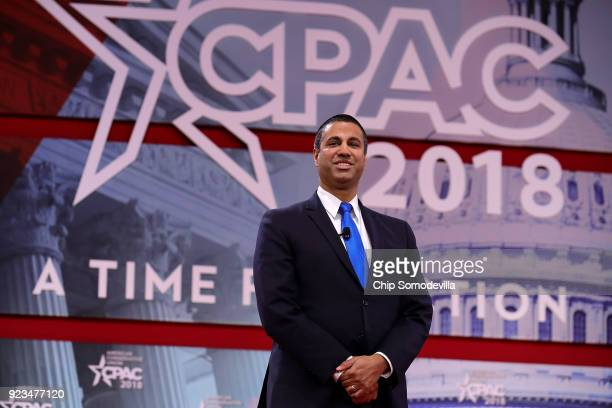 Federal Communication Commission Chairman Ajit Pai arrives at the Conservative Political Action Conference at the Gaylord National Resort and...