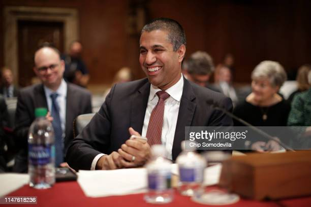 Federal Communication Commission Chairman Ajit Pai prepares to testify before the Senate Financial Services and General Government Subcommittee about...