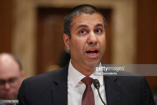 Federal Communication Commission Chairman Ajit Pai testifies before the Senate Financial Services and General Government Subcommittee about his...
