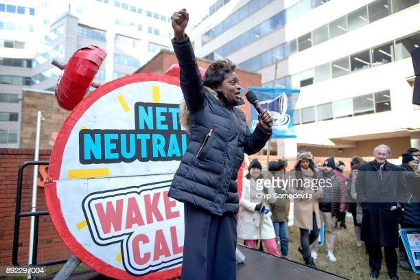 Federal Communication Commission Commissioner Mignon Clyburn addresses protesters outside the Federal Communication Commission building to rally...
