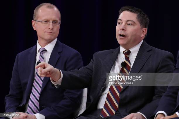 Federal Communication Commission commissioners Brendan Carr and Michael O'Rielly particiate in a discussion during the Conservative Political Action...