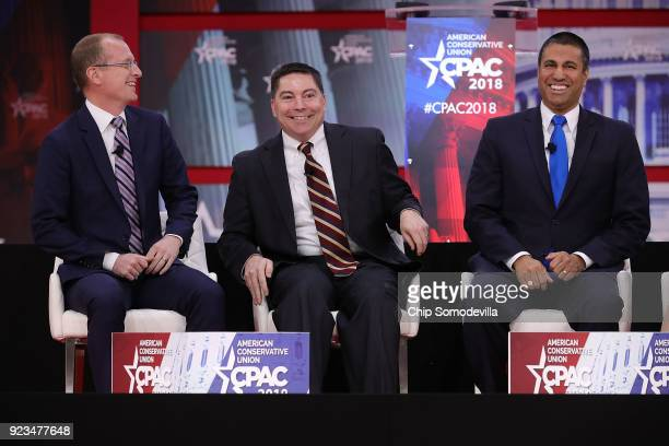 Federal Communication Commission members Brendan Carr Michael O'Rielly and Chairman Ajit Pai particiate in a discussion during the Conservative...