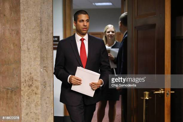 Federal Communications Commission Chairman Ajit Pai arrives for his confirmation hearing for a second term as chair of the commission before the...