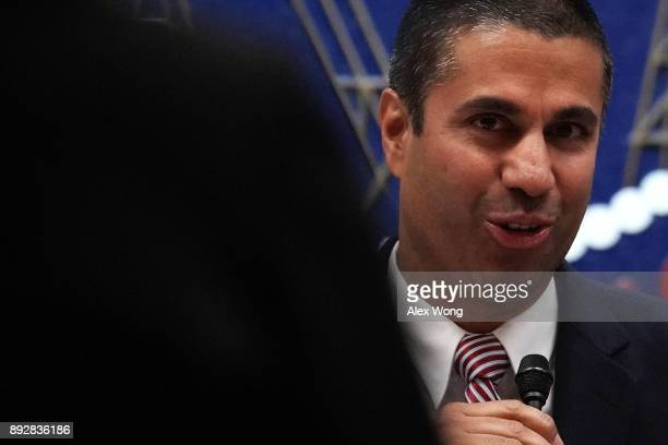 Federal Communications Commission Chairman Ajit Pai speaks during a commission meeting December 14 2017 in Washington DC FCC has voted to repeal its...