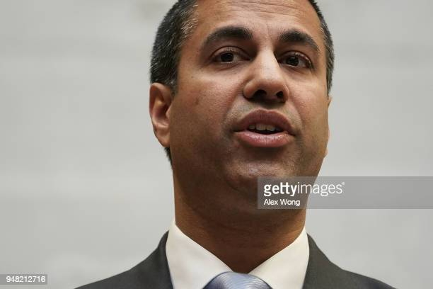 Federal Communications Commission Chairman Ajit Pai speaks during a forum April 18 2018 in Washington DC FCC Chairman Pai and US Secretary of...