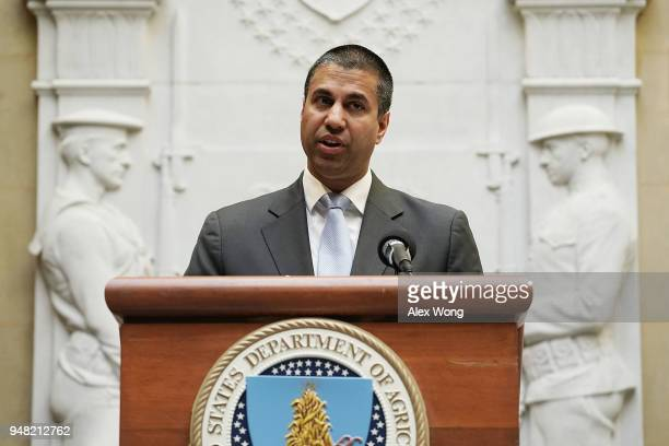 Federal Communications Commission Chairman Ajit Pai speaks during a forum April 18, 2018 in Washington, DC. FCC Chairman Pai and U.S. Secretary of...