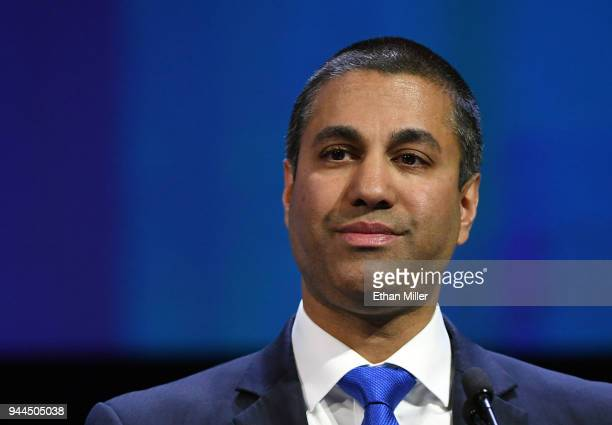 Federal Communications Commission Chairman Ajit Pai speaks during NAB show's We are Broadcasters Celebration at the Las Vegas Convention Center on...