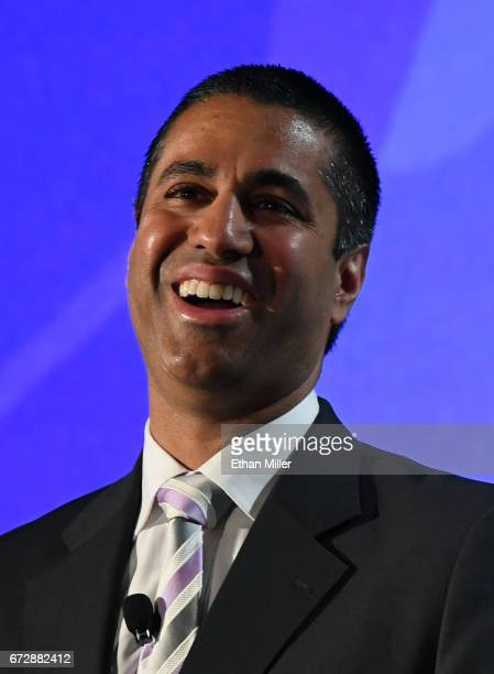 Federal Communications Commission Chairman Ajit Pai speaks during the 2017 NAB Show at the Las Vegas Convention Center on April 25 2017 in Las Vegas...