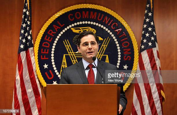S Federal Communications Commission Chairman Julius Genachowski speaks to the media on the importance of net neutrality December 1 2010 at the...