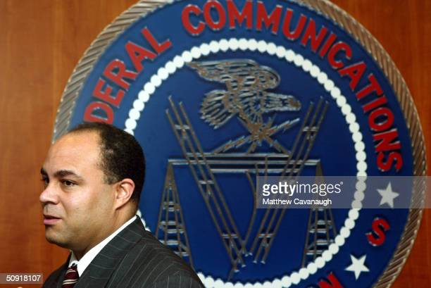Federal Communications Commission Chairman Michael K Powell is shown at a public forum on the relationship between local media and government and...