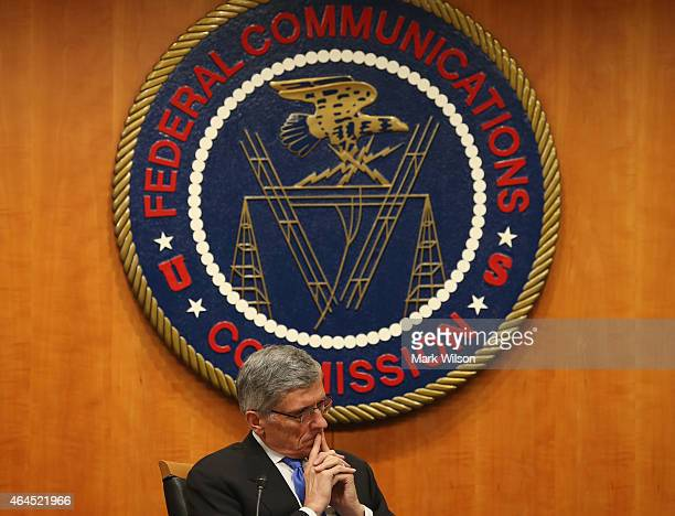 Federal Communications Commission Chairman Tom Wheeler listens to testimony before voting on Net Neutrality at the FCC headquarters February 26 2015...