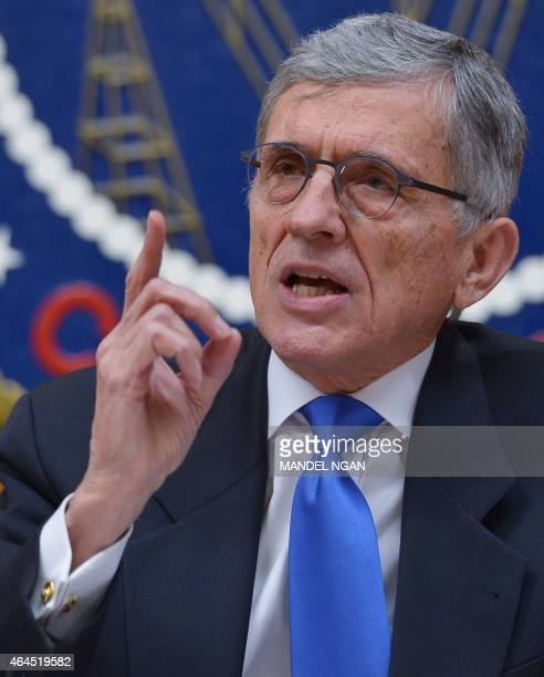 Federal Communications Commission Chairman Tom Wheeler speaks during a FCC hearing on net neutrality during a FCC hearing on the internet on February...