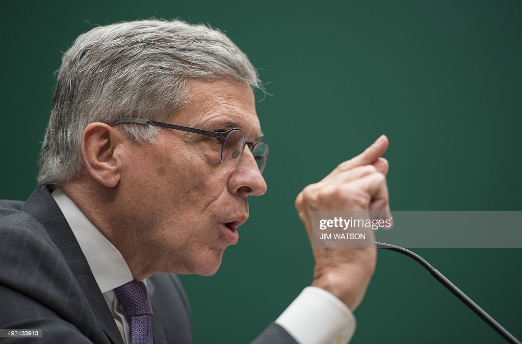 Federal Communications Commission (FCC) Chairman Tom Wheeler testifies before the Communications and Technology Subcommittee on Capitol Hill in Washington, DC, May 20, 2014. AFP PHOTO / Jim WATSON