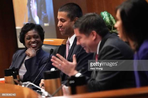 Federal Communications Commission Commissioner Michael O'Rielly speaks as Commissioner Mignon Clyburn Chairman Ajit Pai and Commissioner Jessica...