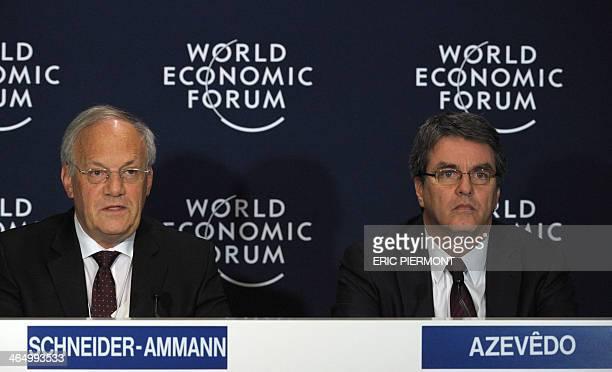 Federal Councillor and Head of the Federal Department of Economic Affairs of Switzerland Johann SchneiderAmmann talks as World Trade Organization...
