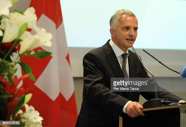 Federal Councilor of the Swiss Foreign Affairs Department Didier Burkhalter speaks during the Forum For The Dialogue Between Switzerland And Italy at...