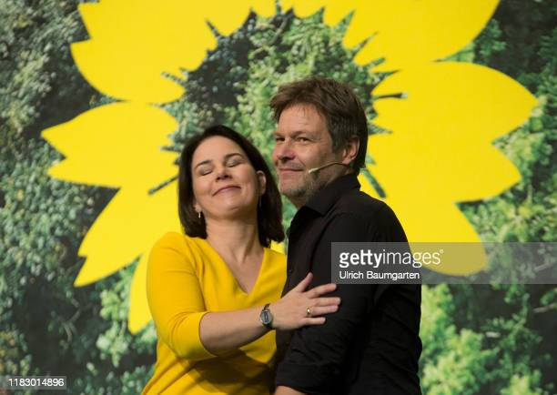 Federal Delegates Conference Alliance 90 The Greens in Bielefeld Annalena Baerbock congratulates and embraces Robert Habeck after his speech