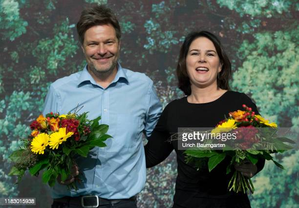 Federal Delegates Conference Alliance 90 The Greens in Bielefeld Annalena Baerbock paty chairwoman and Robert Habeck party chairman after the re...