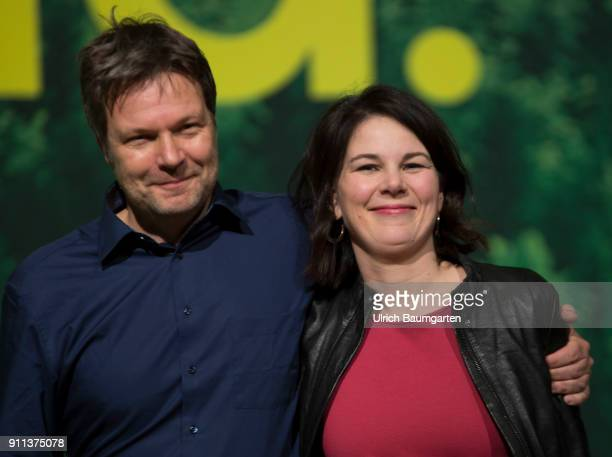 Federal delegates conference of Alliance 90 / The Greens in Hanover Annalena Baerbock and Robert Habeck after the won election to the Federal...