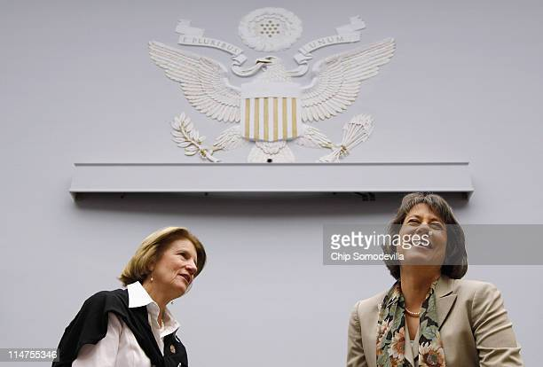 Federal Deposit Insurance Corporation Chairman Shelia Bair talks with the House Financial Services Committee's Financial Institution and Consumer...