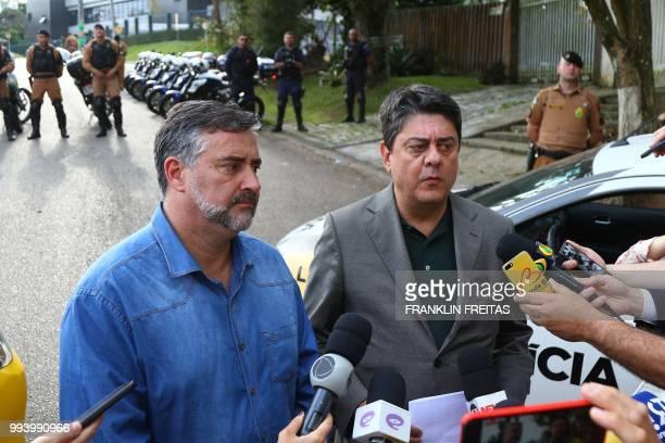 Federal Deputies Paulo Pimenta and Wadi Damous who filed the Habeas Corpus petition to release the former Brazilian president Luiz Inacio Lula da...