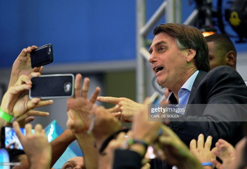 BRAZIL-ELECTION-CANDIDATE-BOLSONARO : News Photo