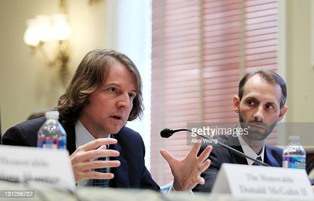 Federal Election Commission Commissioners Donald McGahn II and Matthew Petersen testify during a hearing before the Elections Subcommittee of House...