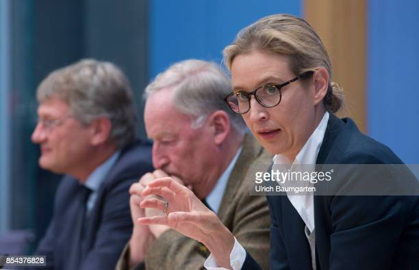 Federal elections 2017. Federal press conference the day after the election. Joerg Meuthen, Alexander Gauland and Alice Weidel, Alternative for...
