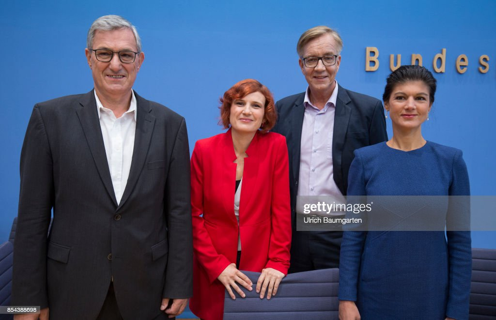 Federal elections 2017. Federal press conference the day after the election. The leader of the party The Left. Bernd Riexinger, Katja Kipping, Dietmar Bartch and Sahra Wagenknecht (from the left). (