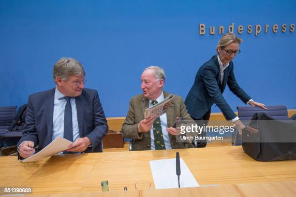 Federal elections 2017 Federal press conference the day after the election Joerg Meuthen Alexander Gauland and Alice Weidel Alternative for Germany