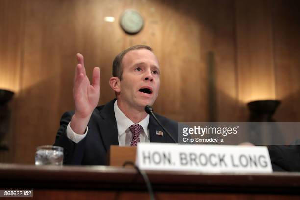 Federal Emergency Management Agency Administrator Brock Long testifies before the Senate Homeland Security and Governmental Affairs Committee in the...