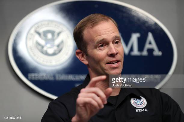 Federal Emergency Management Agency Administrator Brock Long speaks during a briefing on Hurricane Michael at FEMA headquarters on October 12 2018 in...