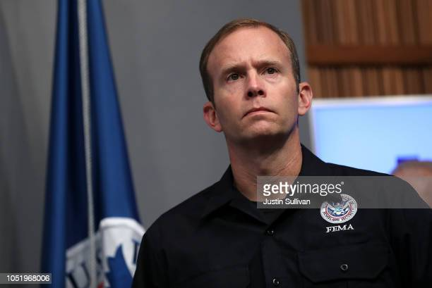 Federal Emergency Management Agency Administrator Brock Long speaks looks on a briefing on Hurricane Michael at FEMA headquarters on October 12 2018...
