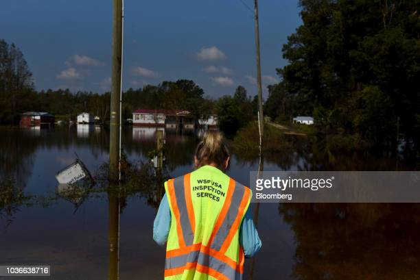 Houses stand submerged by floodwaters after Hurricane Florence hit in Bergaw North Carolina US on Thursday Sept 20 2018 President Donald Trump lauded...